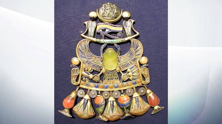 The desert glass features in Tutankhamun's pectoral jewellery. Pic: Jon Bodsworth