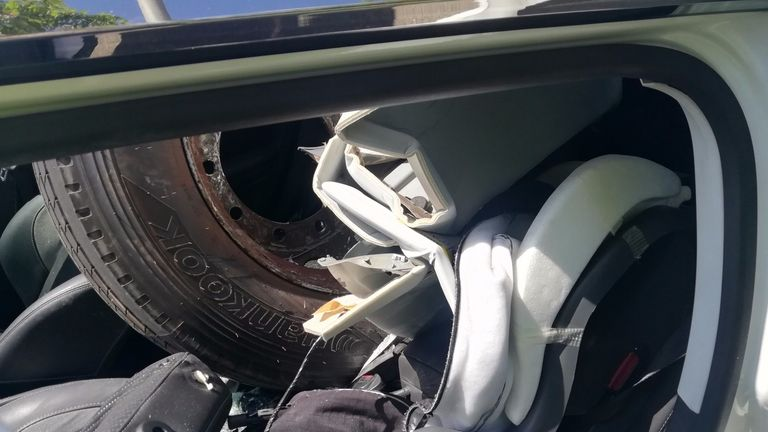 The wheel became lodged in a child's car seat. Pic: Lancashire Police