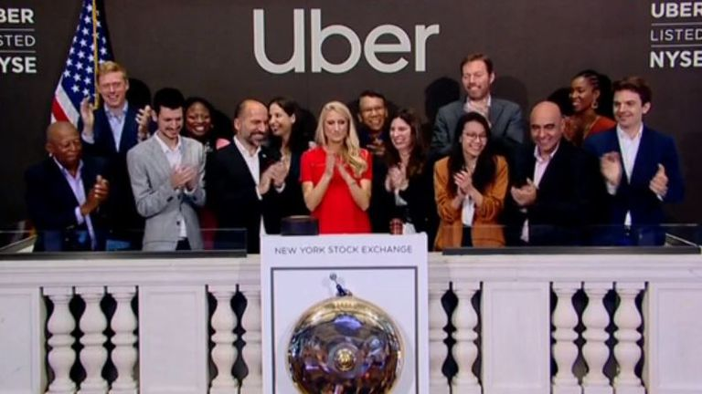 Uber chief executive Dara Khosrowshahi was on hand as the bell rang to commence trading on the NYSE