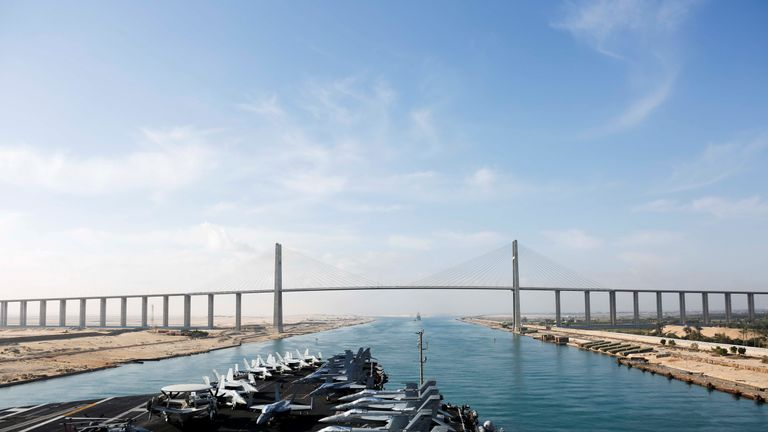 USS Abraham Lincoln passes through Suez Canal on way to Middle East
