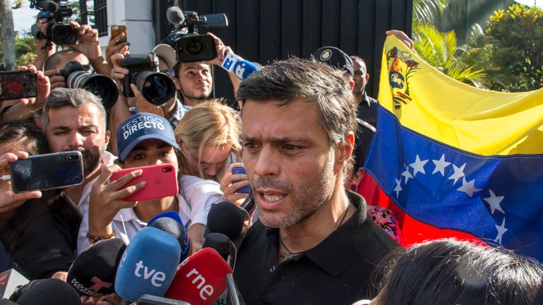 Opposition Leader Leopoldo Lopez speaks to the media at the Spanish ambassador's residence in Caracas