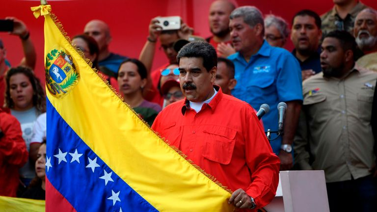 Venezuelan President Nicolas Maduro appeared at a May Day rally of his supporters in Caracas