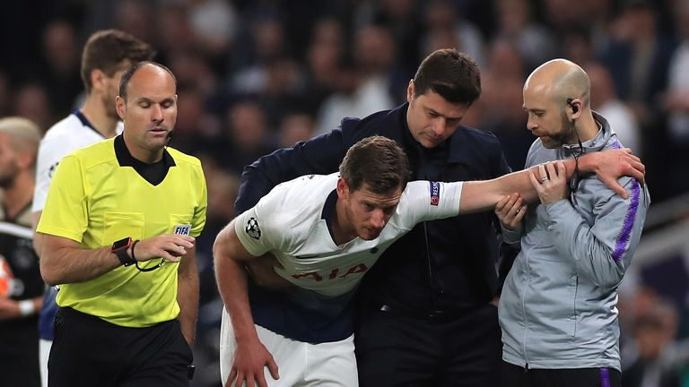 Vertonghen was helped off the pitch after his injury