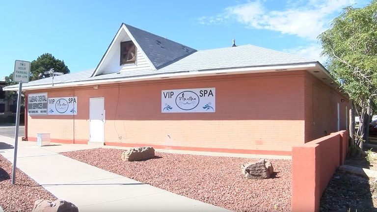 The VIP Spa in Albuquerque was closed in September 2018. Pic: NBC News