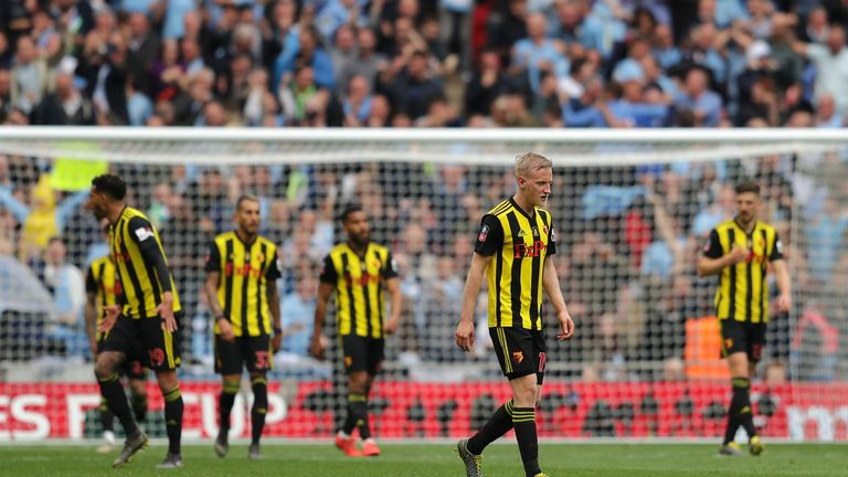Will Hughes of Watford looked dejected during the match