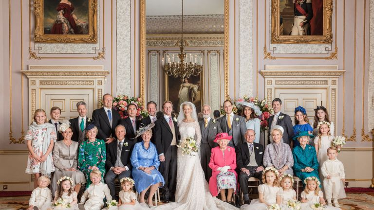 Gabriella Windsor and Thomas Kingston with the royal family members and wedding party
