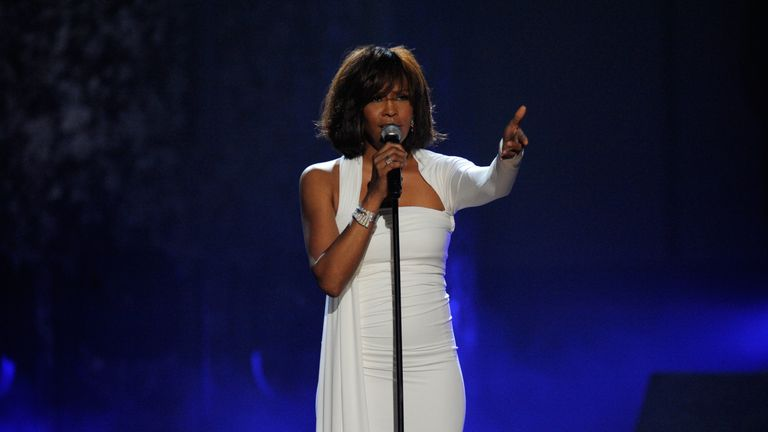 Whitney Houston on stage at the 2009 American Music Awards at Nokia Theatre L.A. Live on November 22, 2009 in Los Angeles, California.
