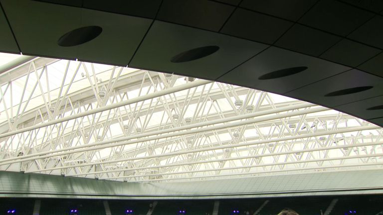 The roof closed from inside No 1 Court