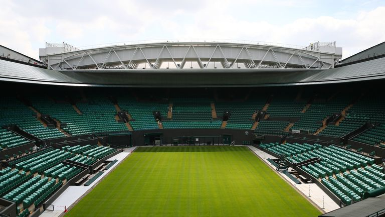 The Wimbledon Number 1 court with the new fixed and retractable roof