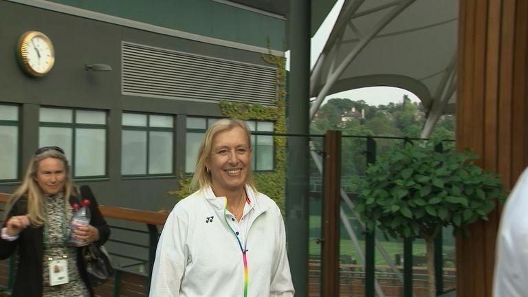 Martina Navratilova played an exhibition match under the new roof