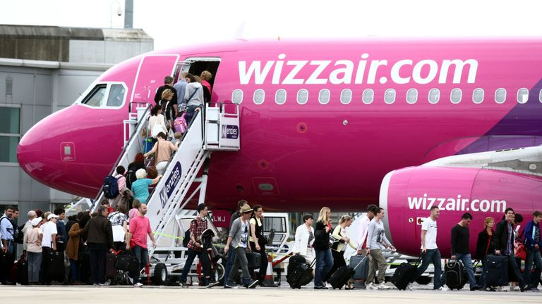 Wizz Air plane at Luton Airport