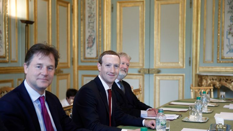 CEO and co-founder of Facebook Mark Zuckerberg poses next to Facebook head of global policy communications and former UK deputy prime minister Nick Clegg (L) prior to a meeting with French President at the Elysee Palace in Paris, on May 10, 2019. (Photo by Yoan VALAT / EPA POOL / AFP) (Photo credit should read YOAN VALAT/AFP/Getty Images)
