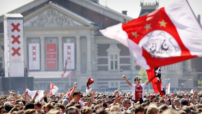 More than 100,000 Ajax fans turned out in Amsterdam to celebrate their domestic league and cup double.
