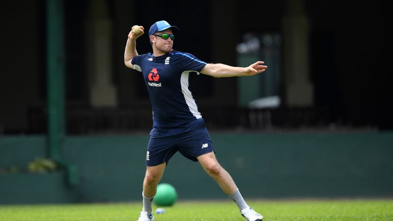 Liam Dawson of England throws during a nets session at P Sara Oval on October 3, 2018 in Colombo,