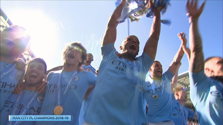 Watch the moment Kompany lifted the Premier League trophy earlier this month