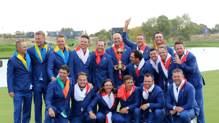during singles matches of the 2018 Ryder Cup at Le Golf National on September 30, 2018 in Paris, France.