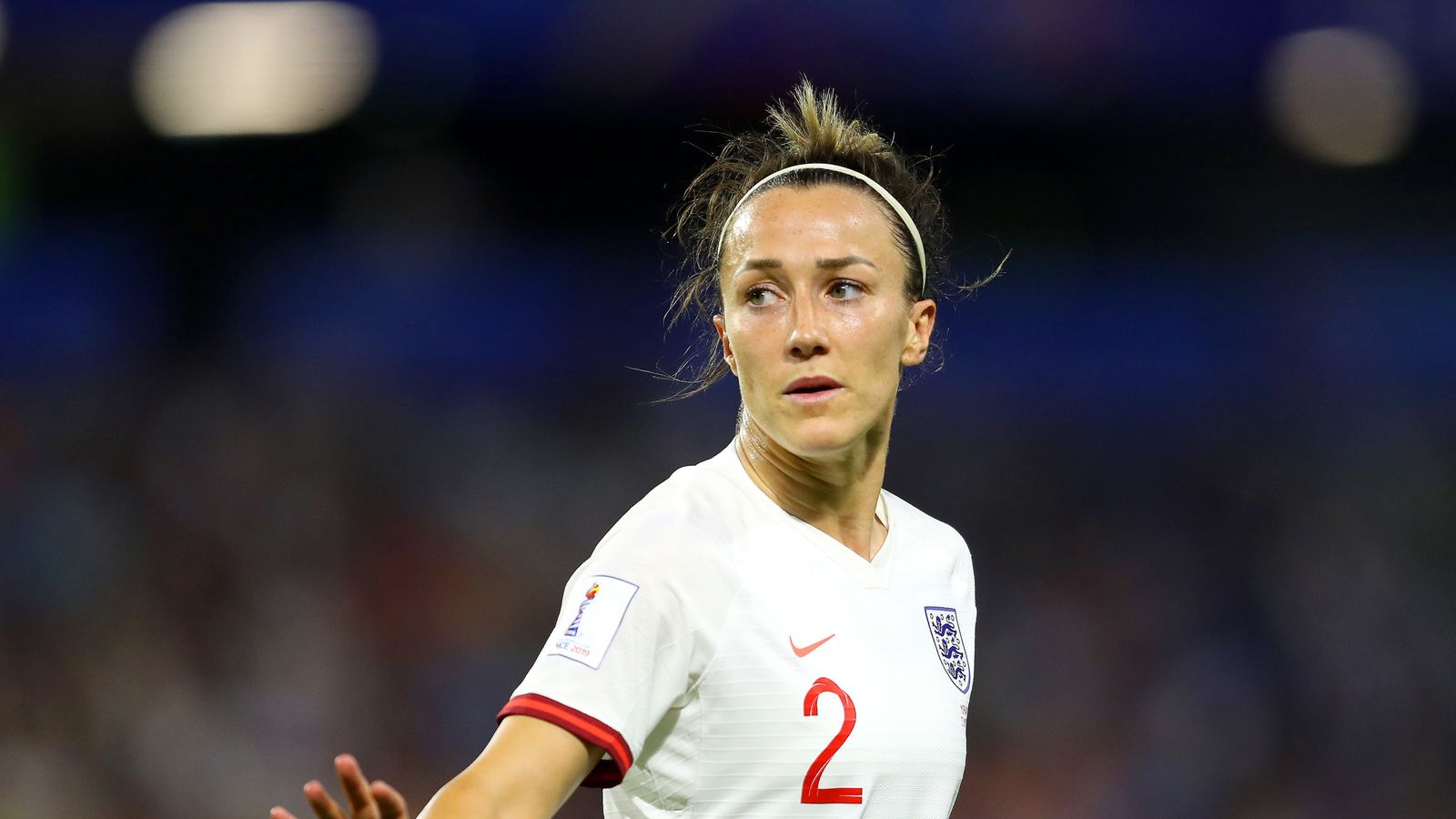 Lucy Bronze of England reacts during the 2019 FIFA Women's World Cup France Quarter Final match between Norway and England at Stade Oceane on June 27, 2019 in Le Havre, France