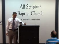 Grayson Fritts delivering a sermon at his church. Pic: Youtube/ All Scripture Baptist Church