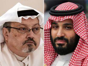 Mohammed bin Salman (right) denies being involved in Jamal Khashoggi's murder