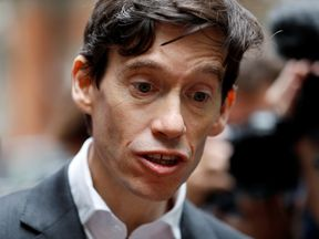 PM hopeful Rory Stewart speaks to the media as he emerges from TV studios in Westminster