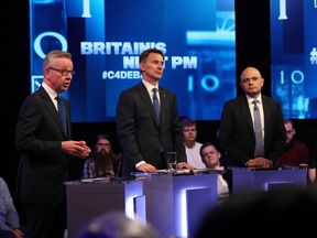 Michael Gove, Jeremy Hunt and Sajid Javid during the live television debate on Channel 4