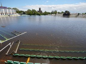 Flooding after heavy rainfall in Worcester saw the local cricket club submerged in water