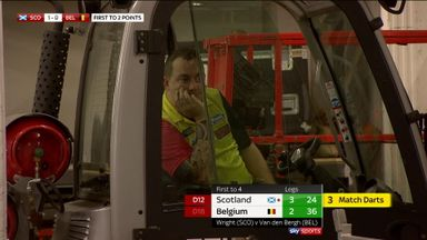 Huybrechts watches from a forklift?