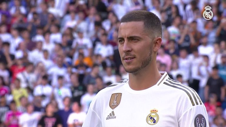 Eden Hazard was presented to the Real Madrid supporters on Thursday