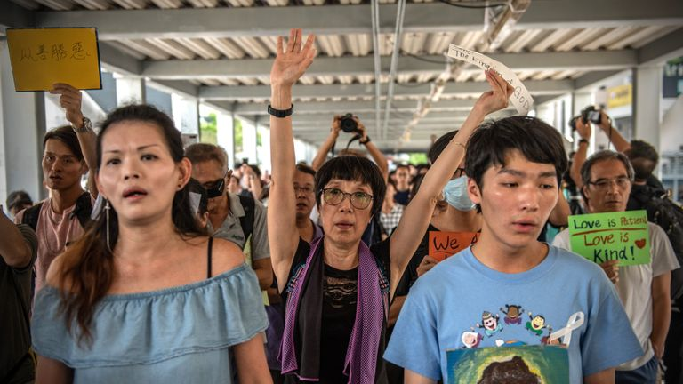 HONG KONG - JUNE 15: Christian protesters demonstrate near the Legislative Council on June 14, 2019 in Hong Kong. Hong Kong's Chief Executive Carrie Lam announced a delay to a controversial extradition bill today following recent clashes between the police and protesters outside government buildings after an estimated 1 million people took to the streets to protest the bill that would allow suspected criminals to be sent to mainland China and which many believe would erode Hong Kong's legal protections. (Photo by Carl Court/Getty Images)