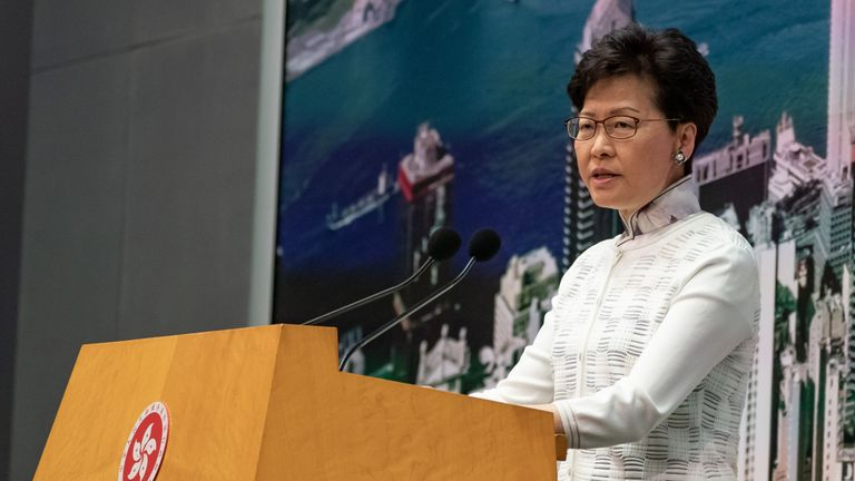 HONG KONG, HONG KONG - JUNE 15:  Carrie Lam, Hong Kong's chief executive, speaks during a news conference at Central Government Complex on June 15, 2019 in Hong Kong China. Hong Kong's Chief Executive Carrie Lam announced to delay a controversial China extradition bill and halt its progress on Saturday after recent clashes between the police and protesters outside government buildings over the bill that would allow suspected criminals to be sent to the mainland. An estimated 1 million people took to the streets on Sunday to protest against the bill as clashes between demonstrators and the police erupted after the peaceful march and many believe the proposed amendment would erode Hong Kong's legal protections, placing its citizens at risk of extradition to China. (Photo by Anthony Kwan/Getty Images)