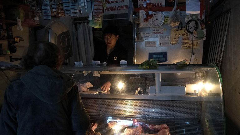 BUENOS AIRES, ARGENTINA - JUNE 16: VIew of a butcher shop and greengrocery during the massive energy blackout on June 16, 2019 in Buenos Aires, Argentina. A widespread power failure early Sunday morning has left all of Argentina and Uruguay without power, social media users have reported that parts of Brazil, Chile and Paraguay have also been affected. Argentine Secretariat of Energy has stated that Argentina's interconnection system had collapsed. (Photo by Lalo Yasky/Getty Images)