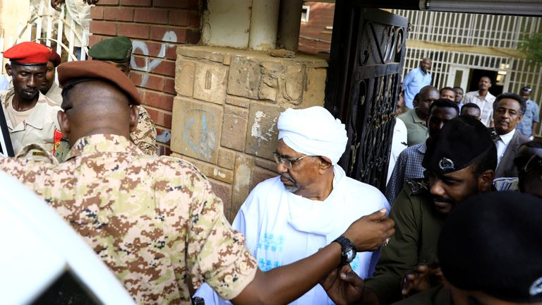 Sudan's ex-president Omar al-Bashir leaves the office of the anti-corruption prosecutor in Khartoum, Sudan, June 16, 2019. REUTERS/Umit Bektas