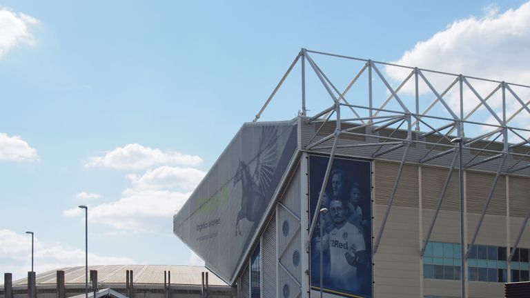 leeds, west yorkshire, united kingdom - 16 may 2019: elland road football stadium the home of leeds united decorated with team scarves and shirts on the day after the championship playoffs on 15th may 2019