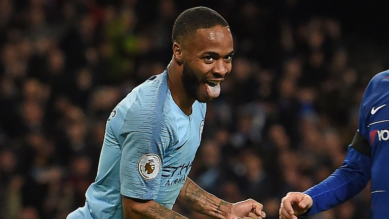 Manchester City's English midfielder Raheem Sterling celebrates scoring his team's sixth goal during the English Premier League football match between Manchester City and Chelsea at the Etihad Stadium in Manchester, north west England, on February 10, 2019. (Photo by Paul ELLIS / AFP) / RESTRICTED TO EDITORIAL USE. No use with unauthorized audio, video, data, fixture lists, club/league logos or 'live' services. Online in-match use limited to 120 images. An additional 40 images may be used in extra time. No video emulation. Social media in-match use limited to 120 images. An additional 40 images may be used in extra time. No use in betting publications, games or single club/league/player publications. /         (Photo credit should read PAUL ELLIS/AFP/Getty Images)
