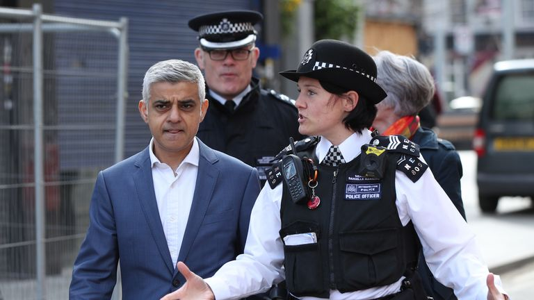 London Mayor Sadiq Khan with officers from the Metropolitan Police as they head out on patrol along Stratford High Street and to Stratford shopping centre, east London.