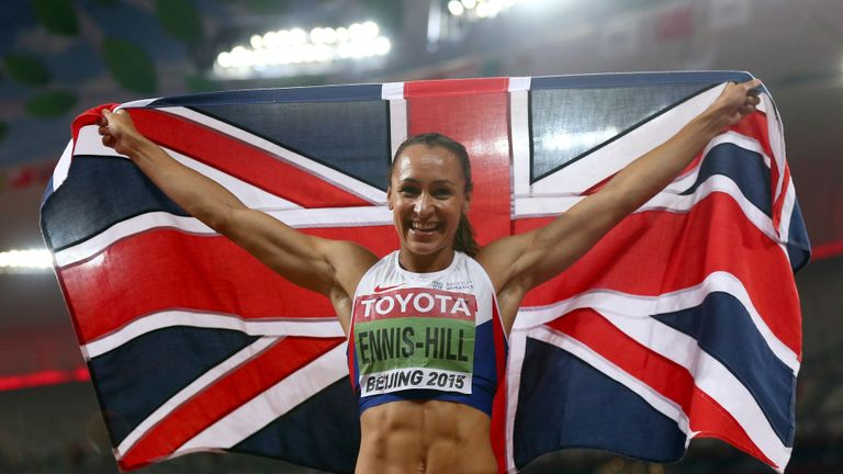BEIJING, CHINA - AUGUST 23:  Jessica Ennis-Hill of Great Britain celebrates after winning the Women's Heptathlon 800 metres and the overall Heptathlon gold during day two of the 15th IAAF World Athletics Championships Beijing 2015 at Beijing National Stadium on August 23, 2015 in Beijing, China.  (Photo by Cameron Spencer/Getty Images)
