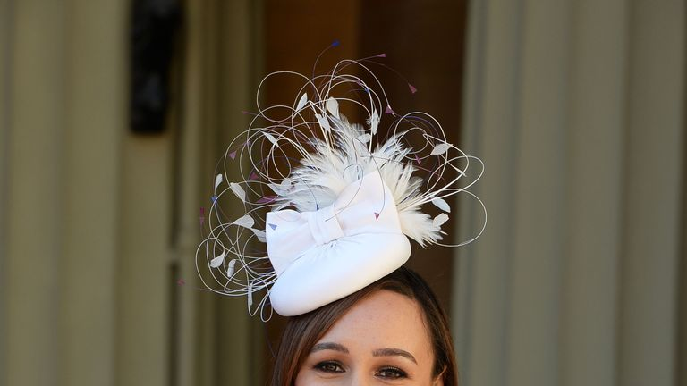 LONDON, ENGLAND - APRIL 19: Jessica Ennis-Hill poses with her award after she was made a Dame CBE by the Duke of Cambridge during an investiture ceremony at Buckingham Palace on April 19, 2017 in London, England. (Photo by John Stillwell - WPA Pool/Getty Images)