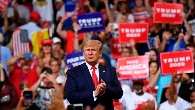US President Donald Trump gestures after a rally at the Amway Center in Orlando, Florida to officially launch his 2020 campaign on June 18, 2019. (Photo by MANDEL NGAN / AFP)        (Photo credit should read MANDEL NGAN/AFP/Getty Images)