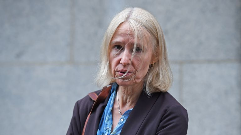 "Sally Lane, the mother of Jack Letts, the Muslim convert Jihadi Jack, outside the Old Bailey, London. Lane, 57, has denied her son posed a ""danger"" despite a Facebook post threatening to behead a group of young British soldiers."