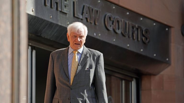 Former Tory MP Harvey Proctor arrives at Newcastle Crown Court to give evidence in the trial of Carl Beech, 51, from Gloucester, who is accused of inventing a Westminster VIP paedophile ring.