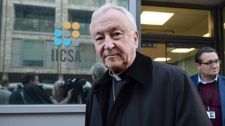 Cardinal Vincent Nichols, Archbishop of Westminster, leaves after giving evidence to the Independent Inquiry into Child Sexual Abuse (IICSA) in London, as part of the IICSA investigation of the Archdiocese of Birmingham.