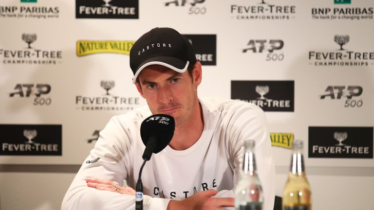 LONDON, ENGLAND - JUNE 20: Andy Murray of Great Britain speaks during a press conference after winning his First Round Doubles match with playing partner Feliciano Lopez of Spain against Juan Sebastian Cabal and Robert Farah of Colombia during day Four of the Fever-Tree Championships at Queens Club on June 20, 2019 in London, United Kingdom. (Photo by Clive Brunskill/Getty Images)