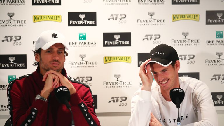 LONDON, ENGLAND - JUNE 20: Andy Murray of Great Britain and playing partner Feliciano Lopez of Spain attend a press conference after winning their First Round Doubles match against Juan Sebastian Cabal and Robert Farah of Colombia during day Four of the Fever-Tree Championships at Queens Club on June 20, 2019 in London, United Kingdom. (Photo by Clive Brunskill/Getty Images)