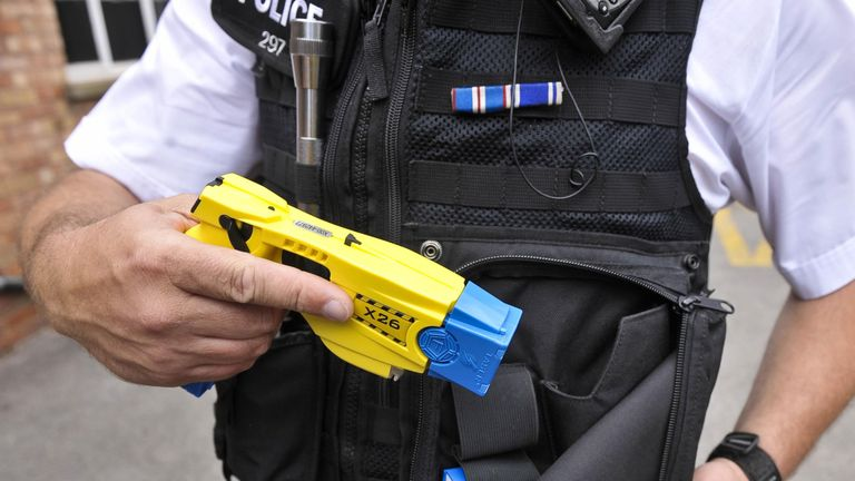 """File photo dated 09/12/16 of a police issue Taser. Tasers are more humane than """"bludgeoning someone into submission"""" using a baton, the Scottish Police Federation head has said."""