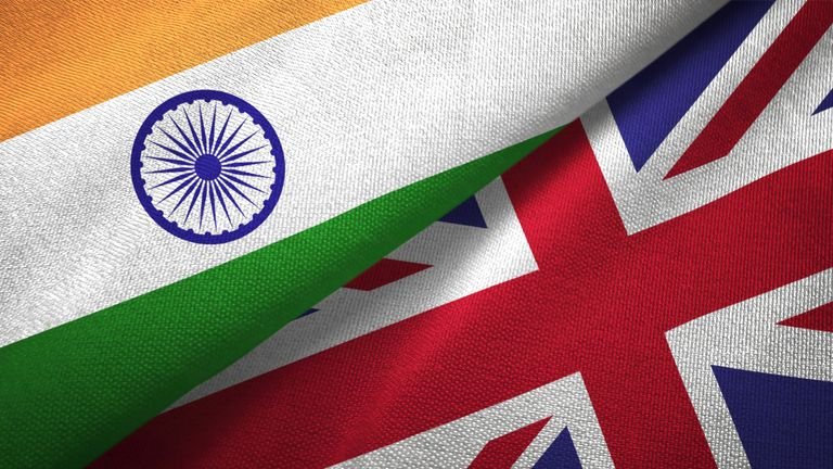 United Kingdom and India flag together realtions textile cloth fabric texture