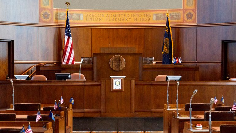 State Senate Chamber of the Oregon state capitol building in Salem, Oregon. It is composed of 30 members and part of the Oregon Legislative Assembly.