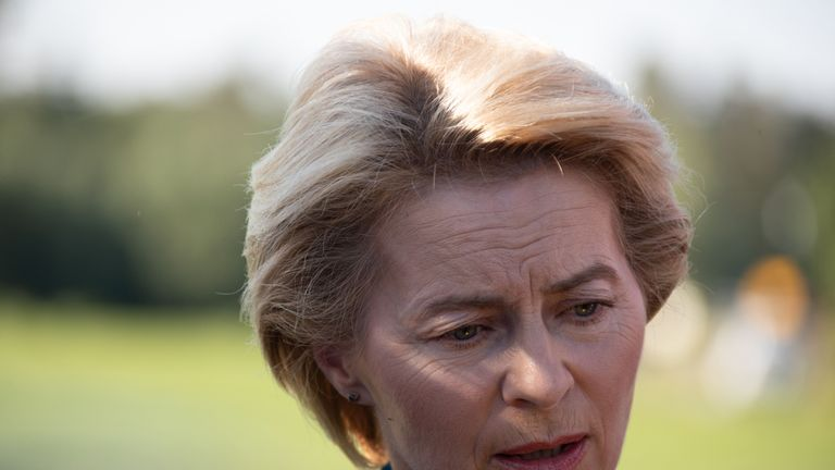 Ursula von der Leyen, German Defense Minister, informs herself and gives a statement at the site of a crash between two Eurofighter jets of the German Air Force on June 24, 2019 near Nossentiner Huette. - One pilot was killed after two German fighter jets collided and crashed Monday in the north of the country, an airforce spokesman said, with the reason for the accident unclear. (Photo by Jens Büttner / dpa / AFP) / Germany OUT        (Photo credit should read JENS BUTTNER/AFP/Getty Images)