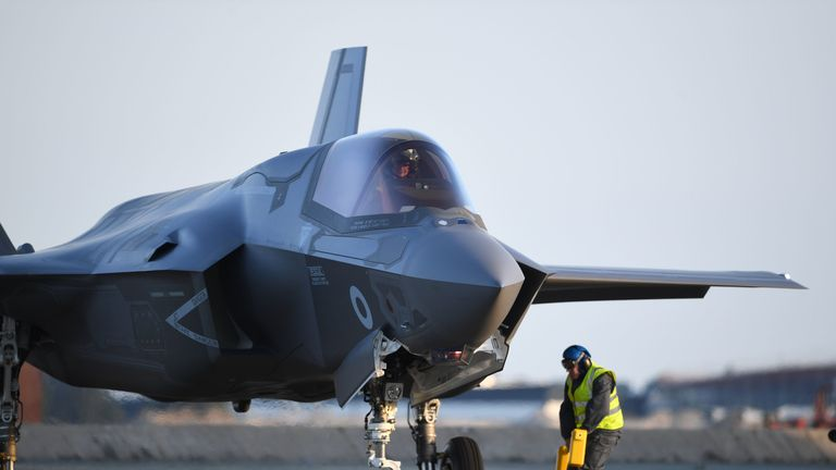One of Britain's F-35B jets arrive at RAF Marham in Norfolk.