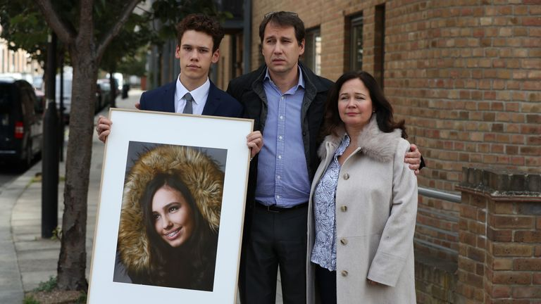 Nadim and Tanya Ednan-Laperouse, with their son Alex, on the outskirts of West London Coroners Court, following the conclusion of the inquiry into the death of Fulham's 15-year-old Natasha Ednan-Laperouse, who died after falling ill on a flight from London to Good after eating a Pret A Manger sandwich at Heathrow Airport.