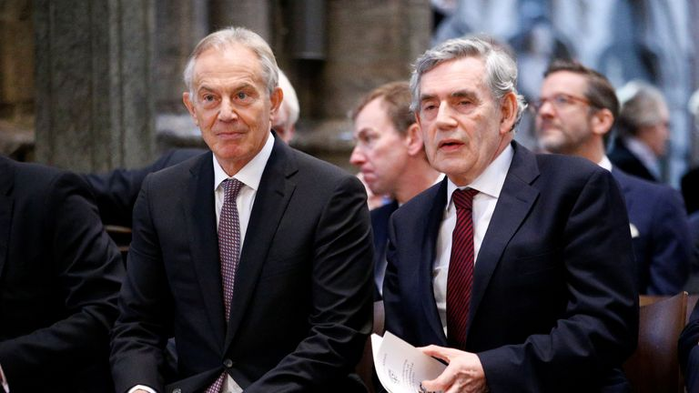 Former British Prime Ministers Tony Blair and Gordon Brown attend a service of thanksgiving for Lord Heywood in Westminster Abbey in London on June 20, 2019. (Photo by HENRY NICHOLLS / POOL / AFP)        (Photo credit should read HENRY NICHOLLS/AFP/Getty Images)
